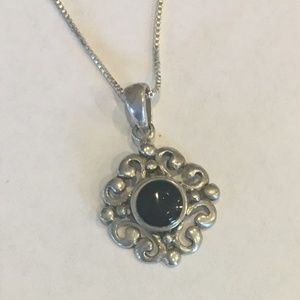 Sterling Silver pendant with Black stone 18""